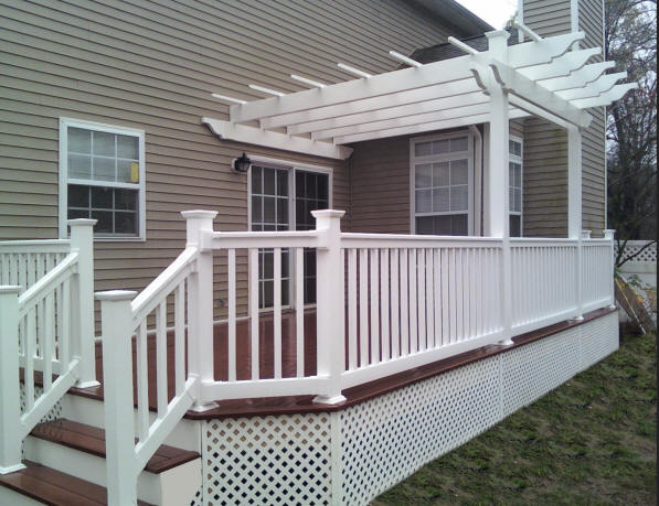 Decks NJ completed composite deck package with pergola
