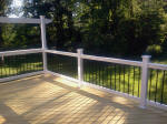 Decks NJ Pine Deck with white vinyl railings